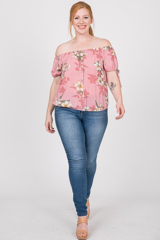 Delicate Floral Top -Pink - Front