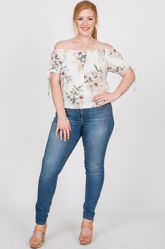 Delicate Floral Top -White - Front