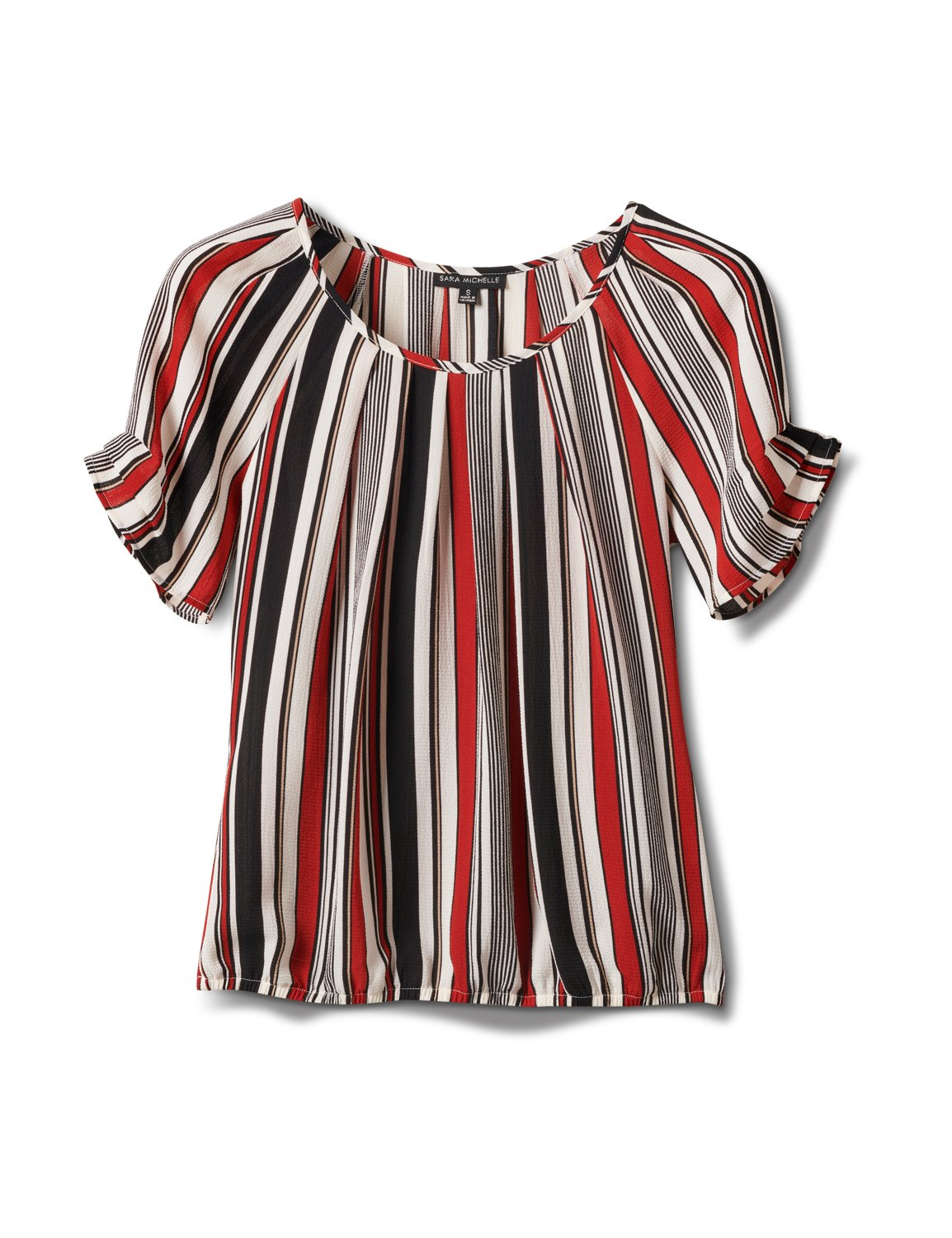Multi Stripe Bubble Hem Blouse -Offwhite/Black/Rust - Front