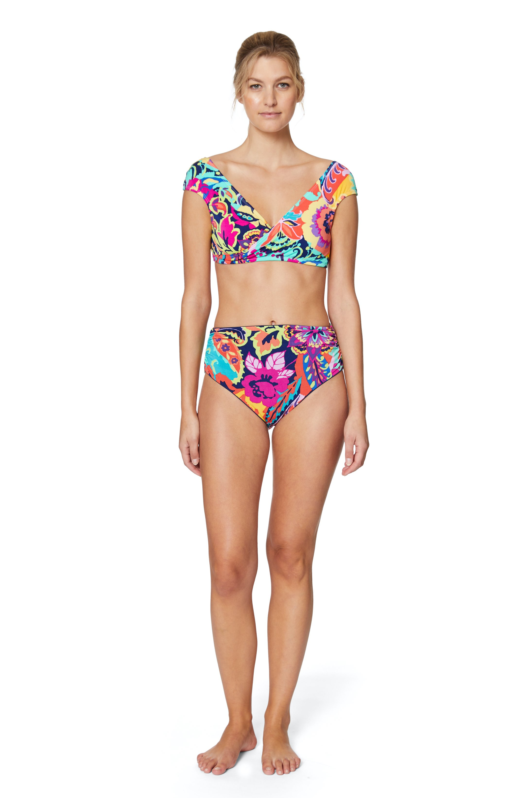PRE ORDER Tahari® Paris Floral Shirred High Waist Swimsuit Bottom -Multi - Front