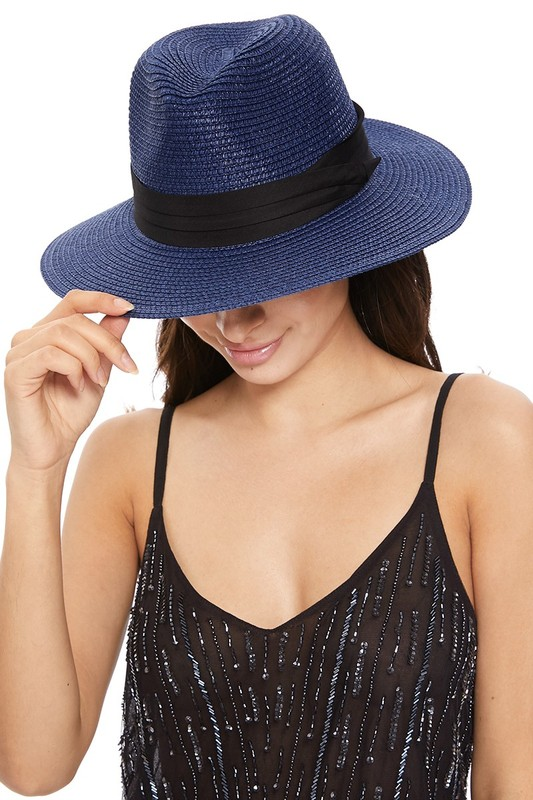 Pre-Order Spring/Summer Women's Wide Brim Hat -Blue - Front