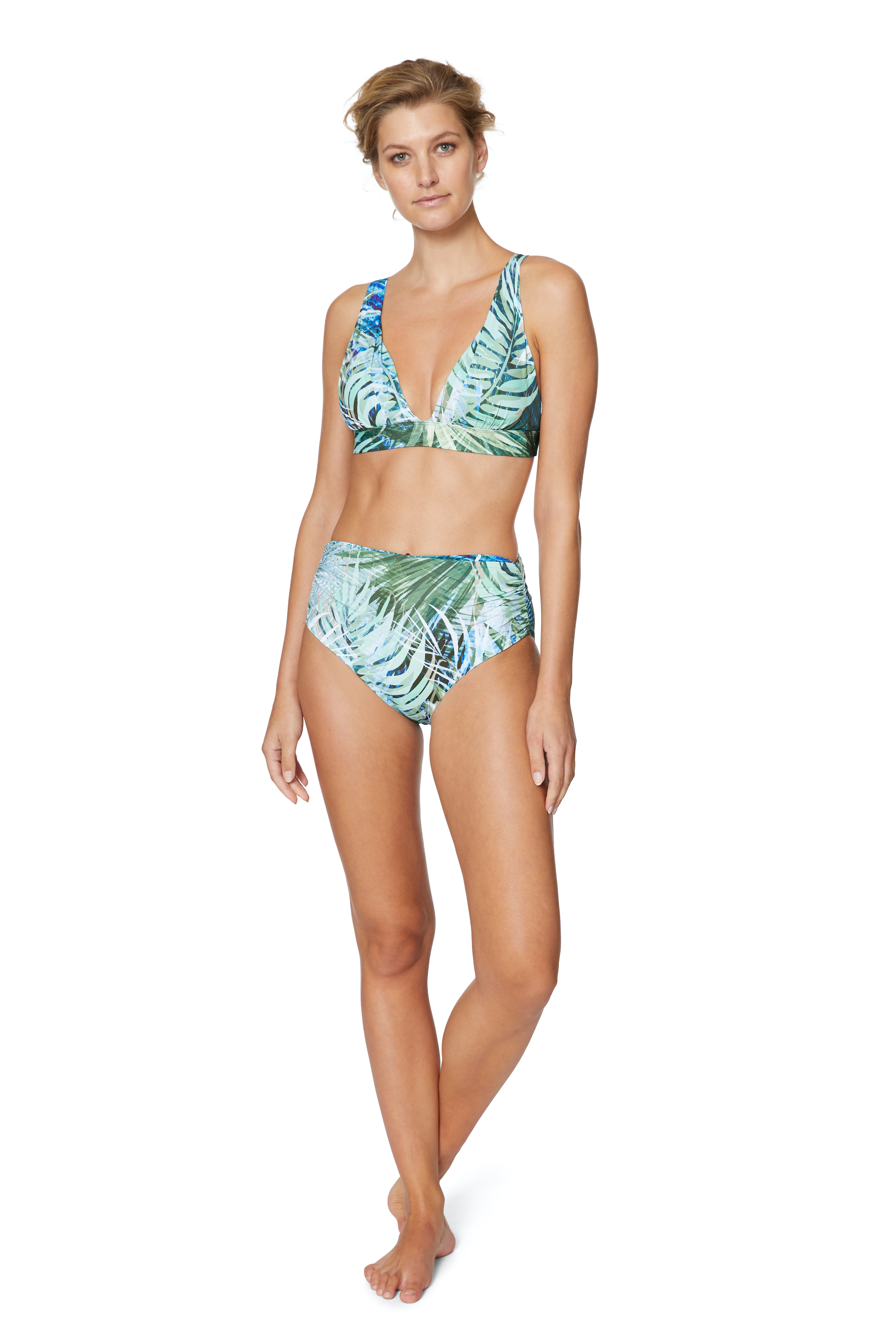 PRE ORDER Tahari® Camo Palm Shirred High Waist Swimsuit Bottom -Green - Front