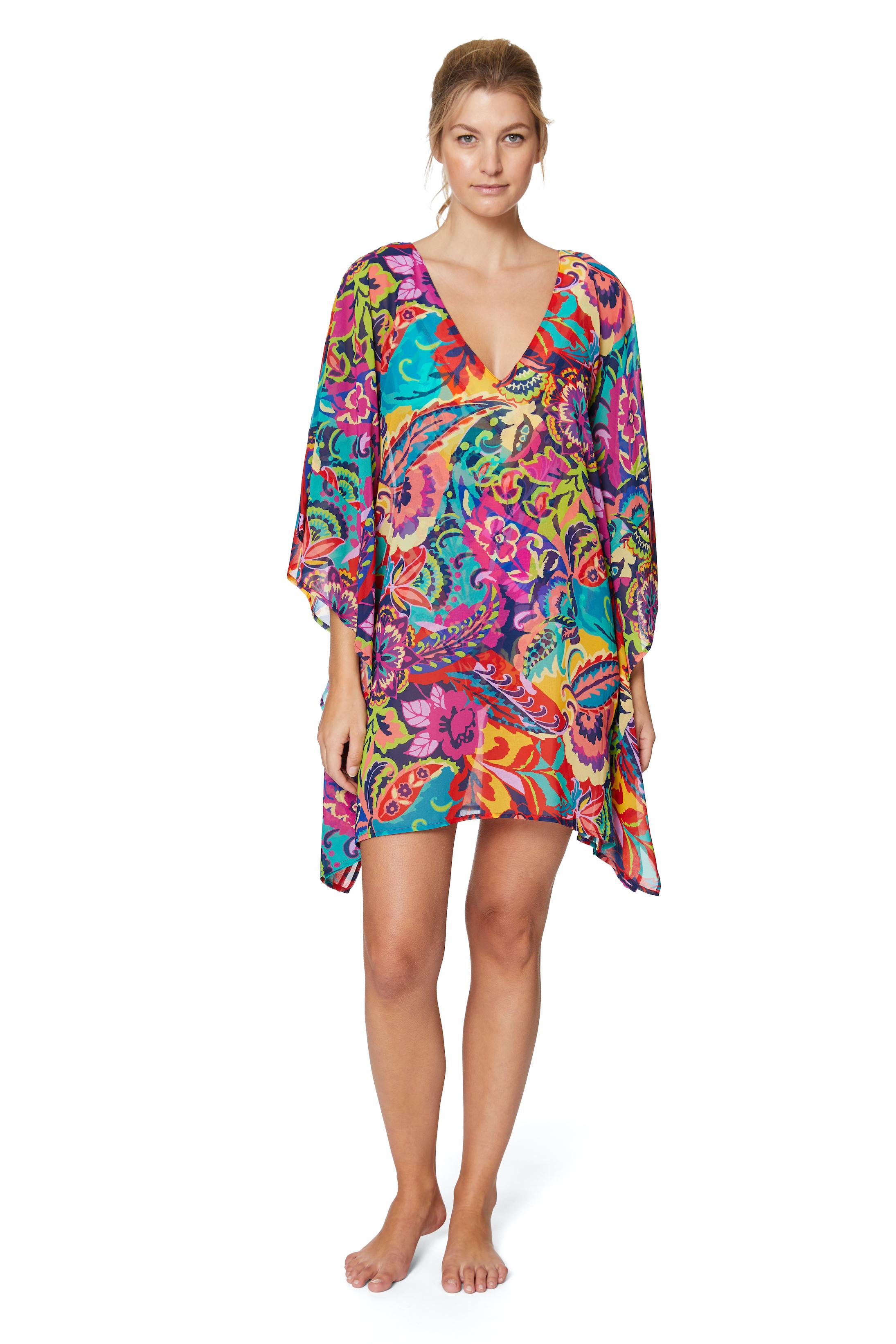 PRE ORDER Tahari® Paris Floral Tunic Swimsuit Cover-Up -Multi - Front