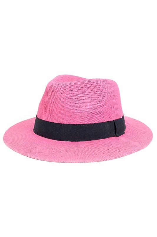 Colorful Wide Brim Panama Hat -Fuchsia - Front