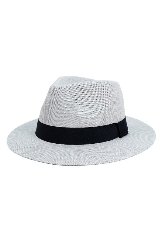 Colorful Wide Brim Panama Hat -Gray - Front