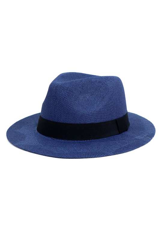 Colorful Wide Brim Panama Hat -Navy - Front