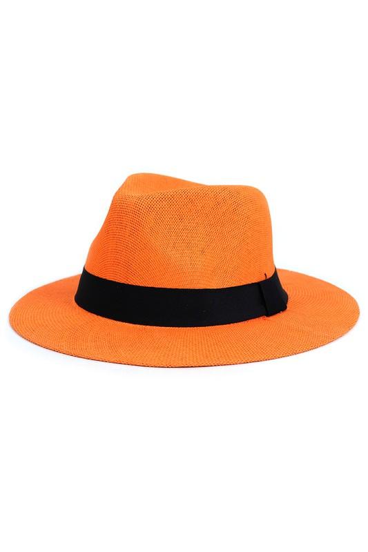 Colorful Wide Brim Panama Hat -Orange - Front