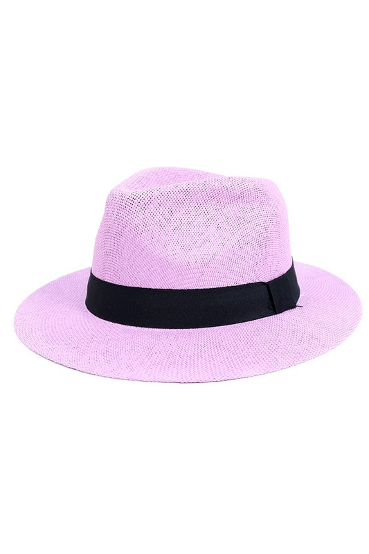 Colorful Wide Brim Panama Hat -Purple - Front