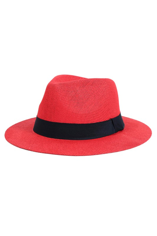 Colorful Wide Brim Panama Hat -Red - Front