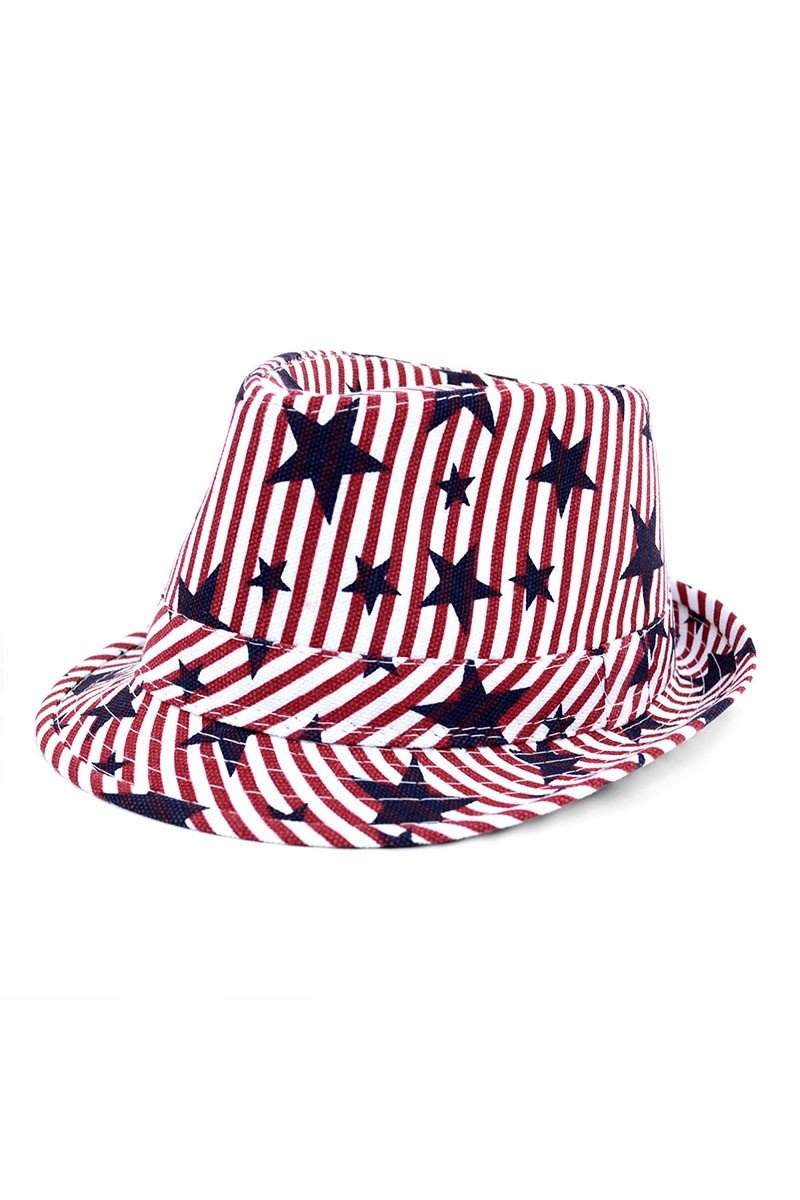 Pre-Order Spring/Summer USA Stars StripesTrilby Fedora -One Color - Front