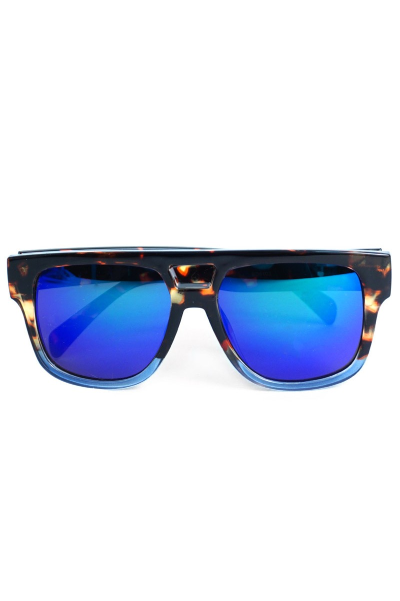 Fashionable Mirrored Sunglasses -Black - Front