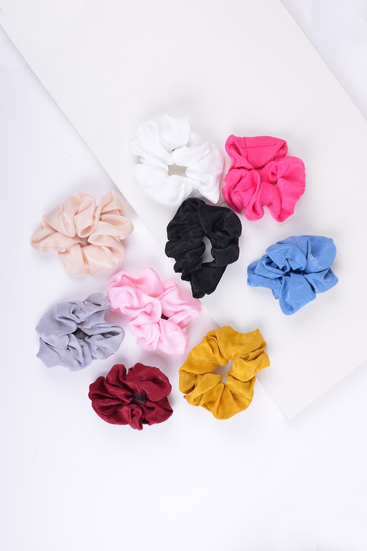 Pre-Order 12-piece Solid Scrunchie Hair Ties -Multi - Front
