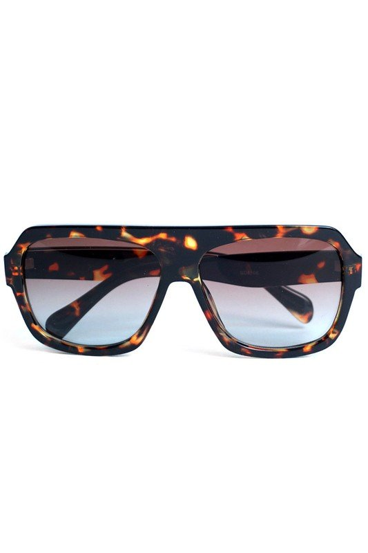 Brown Tortoise Rectangular Sunglasses -Brown - Front