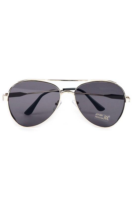 Gold Metal Frame Aviator Sunglasses -Gold - Front