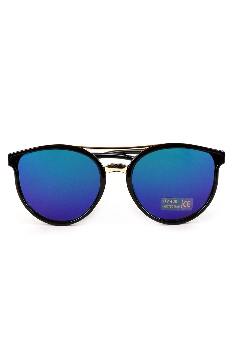 Round Mirrored Sunglasses -Black - Front