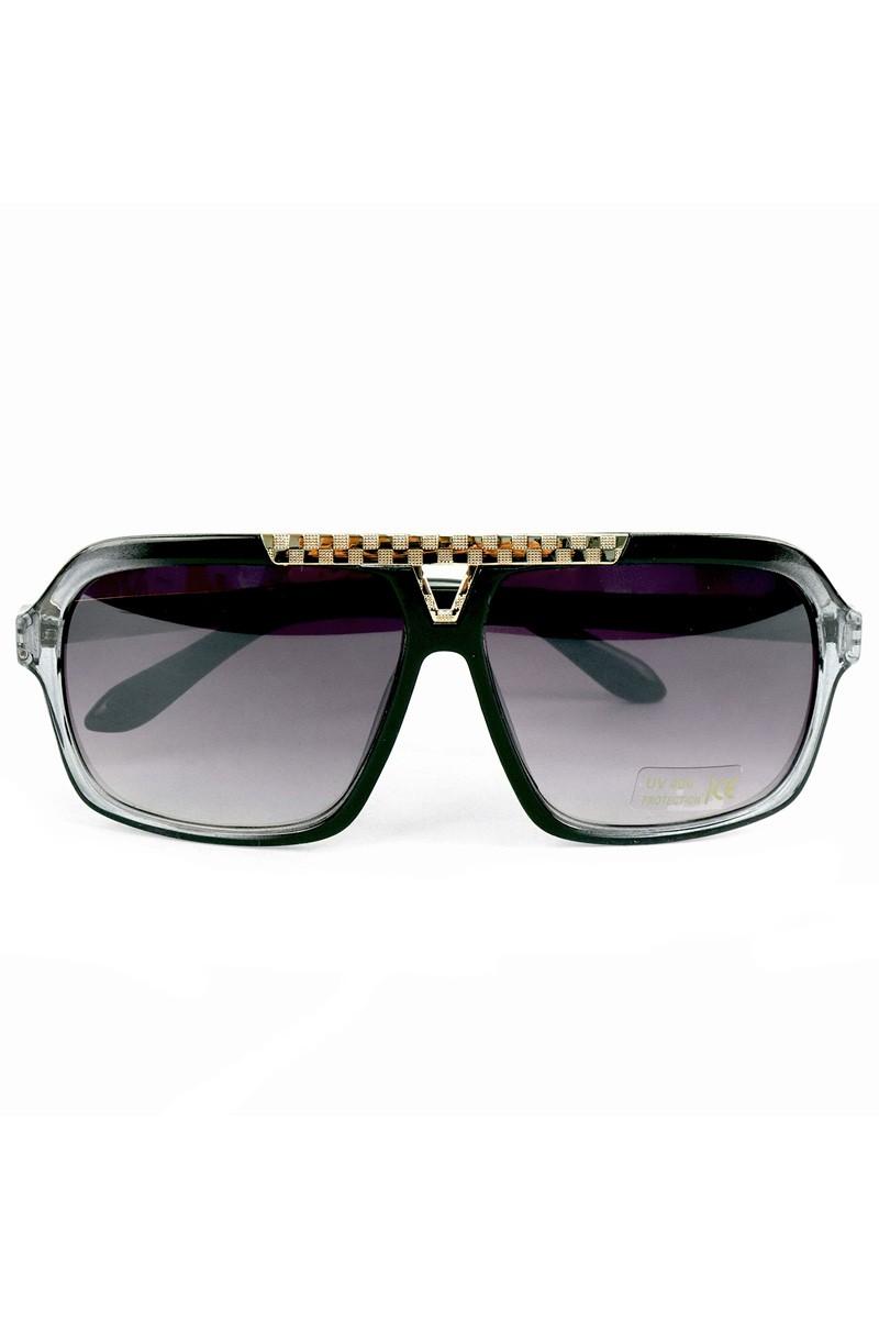 Black Rectangular Sunglasses -Black - Front