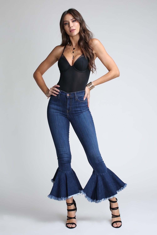 Asymmetrical Bell-Bottom Flare Jeans -Medium stone - Front
