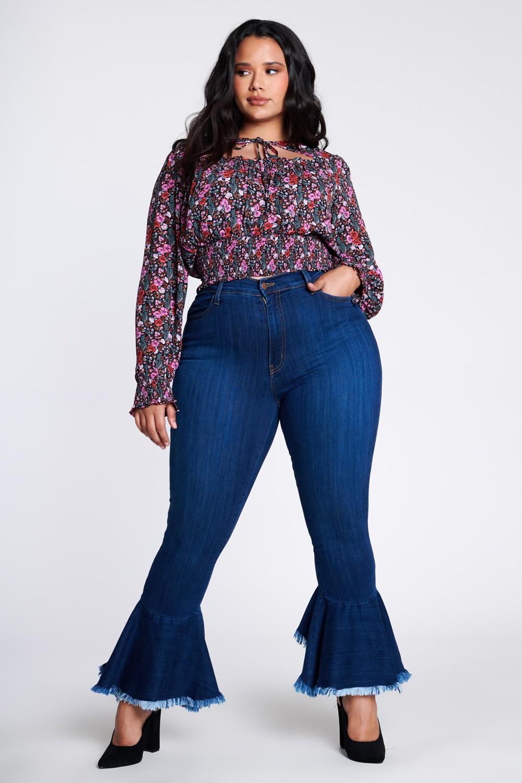 Ruffle Bell-Bottom Jeans -Medium stone - Front