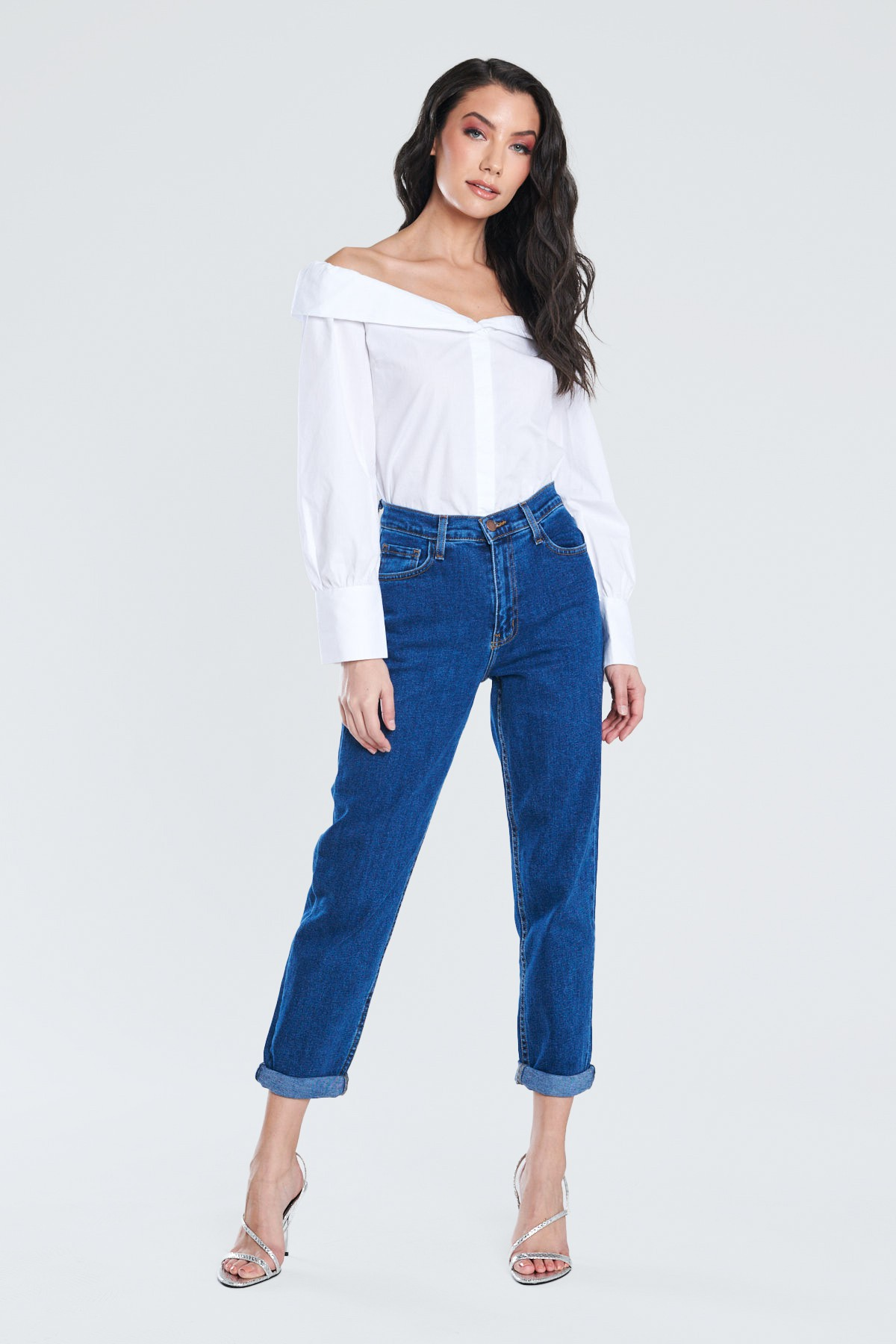 Dark Blue Classic Mom Jeans -Dark stone - Front