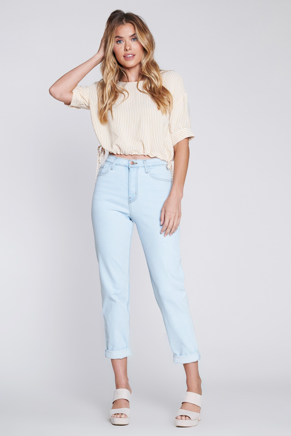 Vibrant Classic Mom Jeans -Light stone - Front
