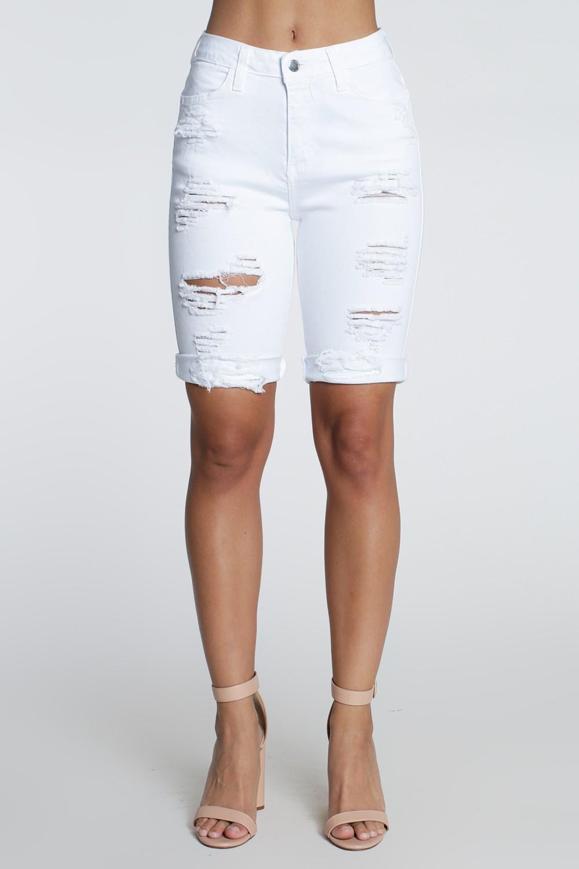 Distressed Boyfriend Bermuda Shorts -White - Front