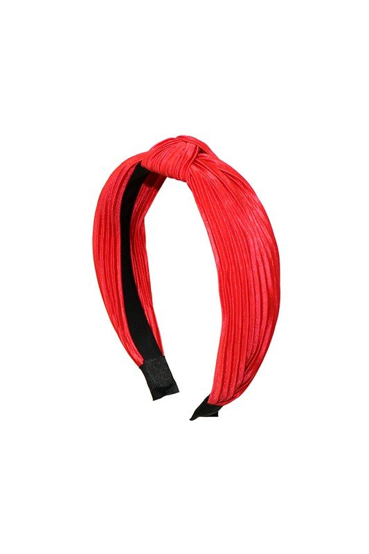 Pre-Order Pleated C-Shaped Headband -Red - Front