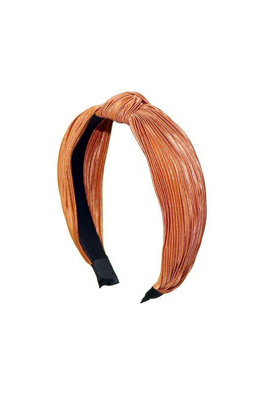 Pre-Order Pleated C-Shaped Headband -Rust - Front