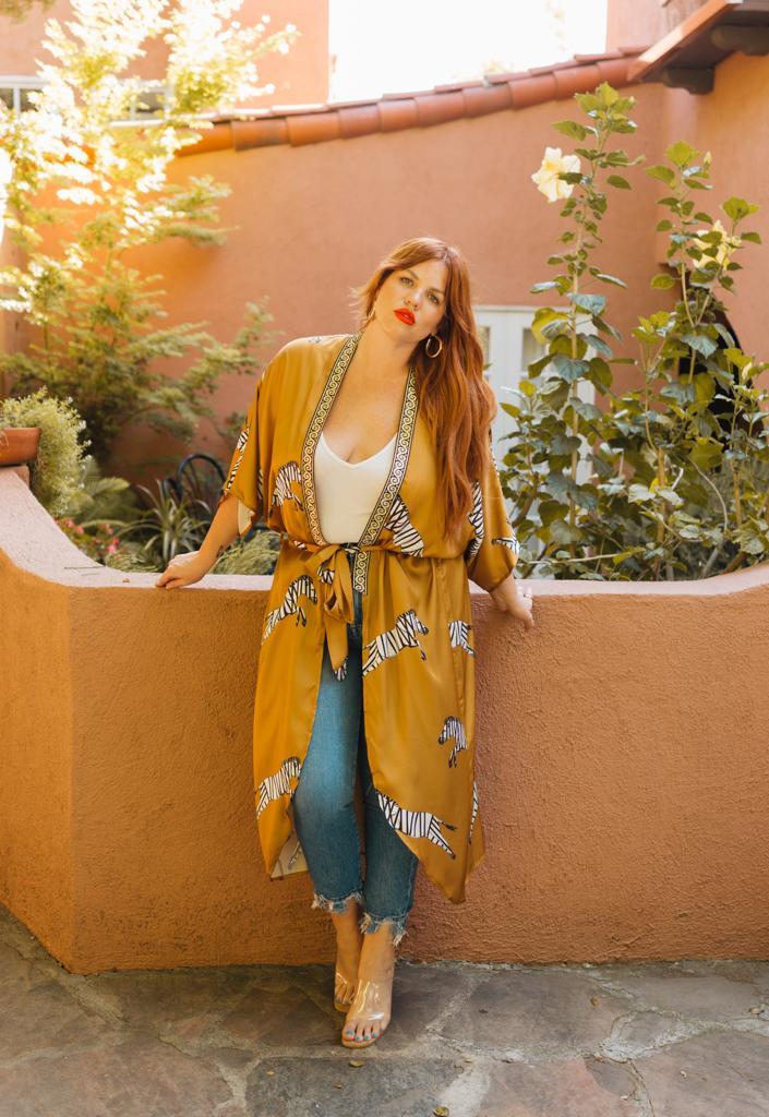 Pre Order Womens Curve Enhancing Goddess Long Zebra Robe -Yellow - Front