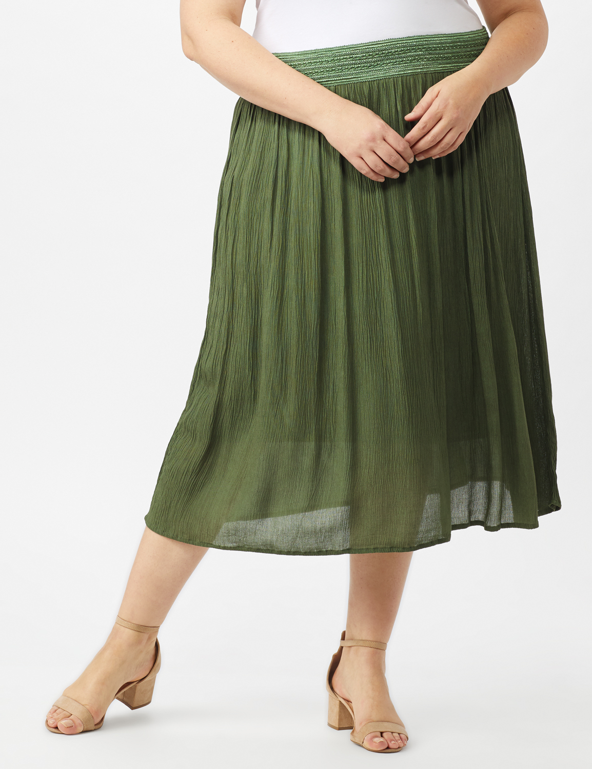 Rayon Gauze Pull On Skirt with Decorative Waistband -Olive - Front