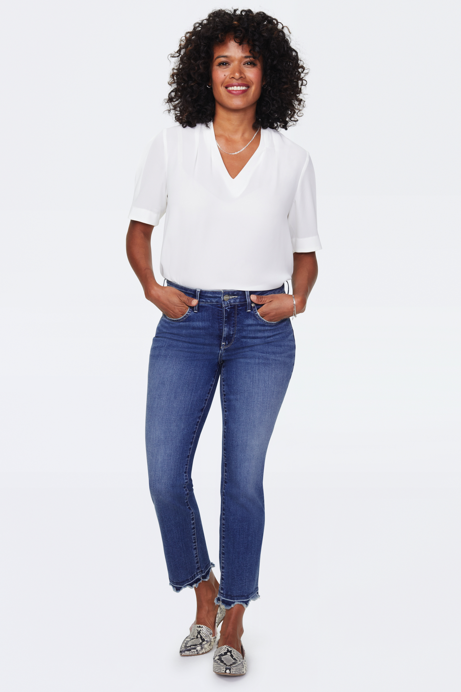 PRE ORDER NYDJ Marilyn Ankle Jeans with Frayed Hem -ALTON CHEW HEM - Front