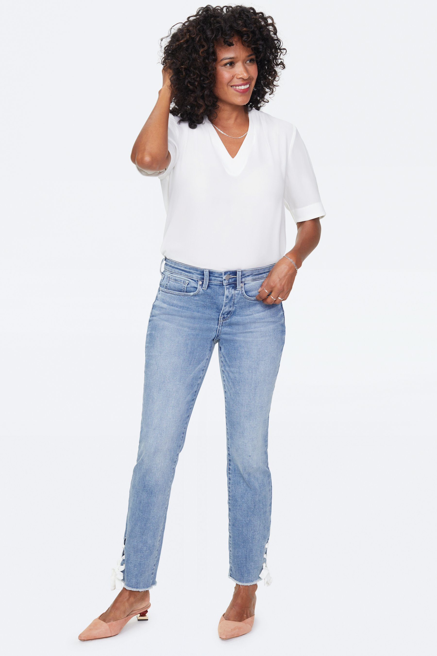 PRE ORDER NYDJ Sheri Ankle Jeans with Laced Slits -Coheed - Front