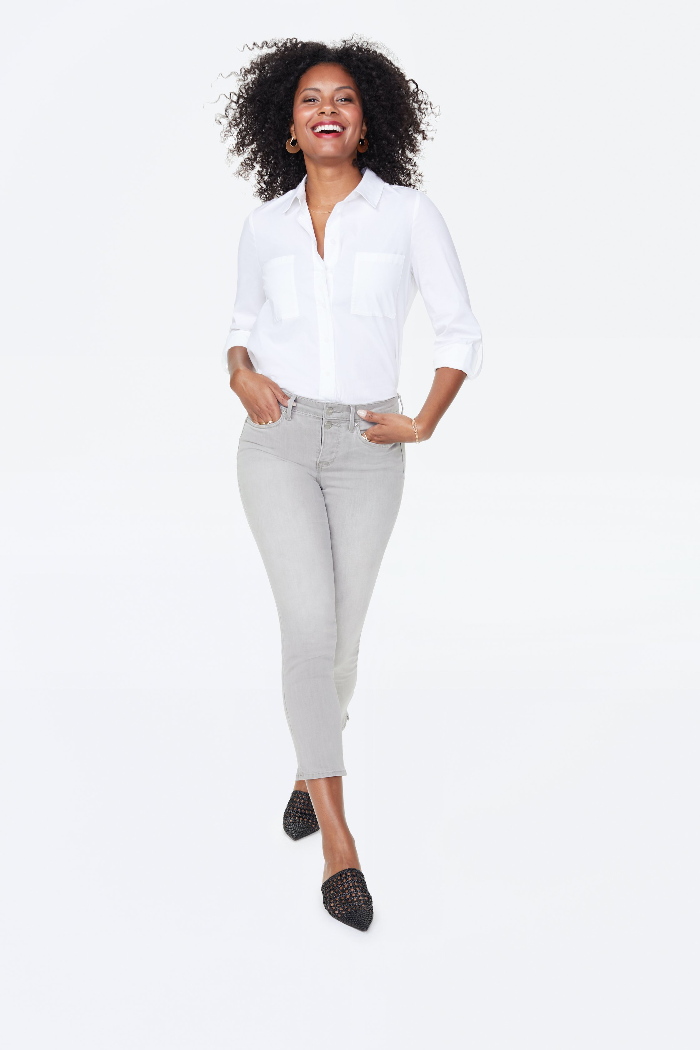 PRE ORDER NYDJ Sheri Ankle Jeans with Mock Fly & Slits -Gale - Front