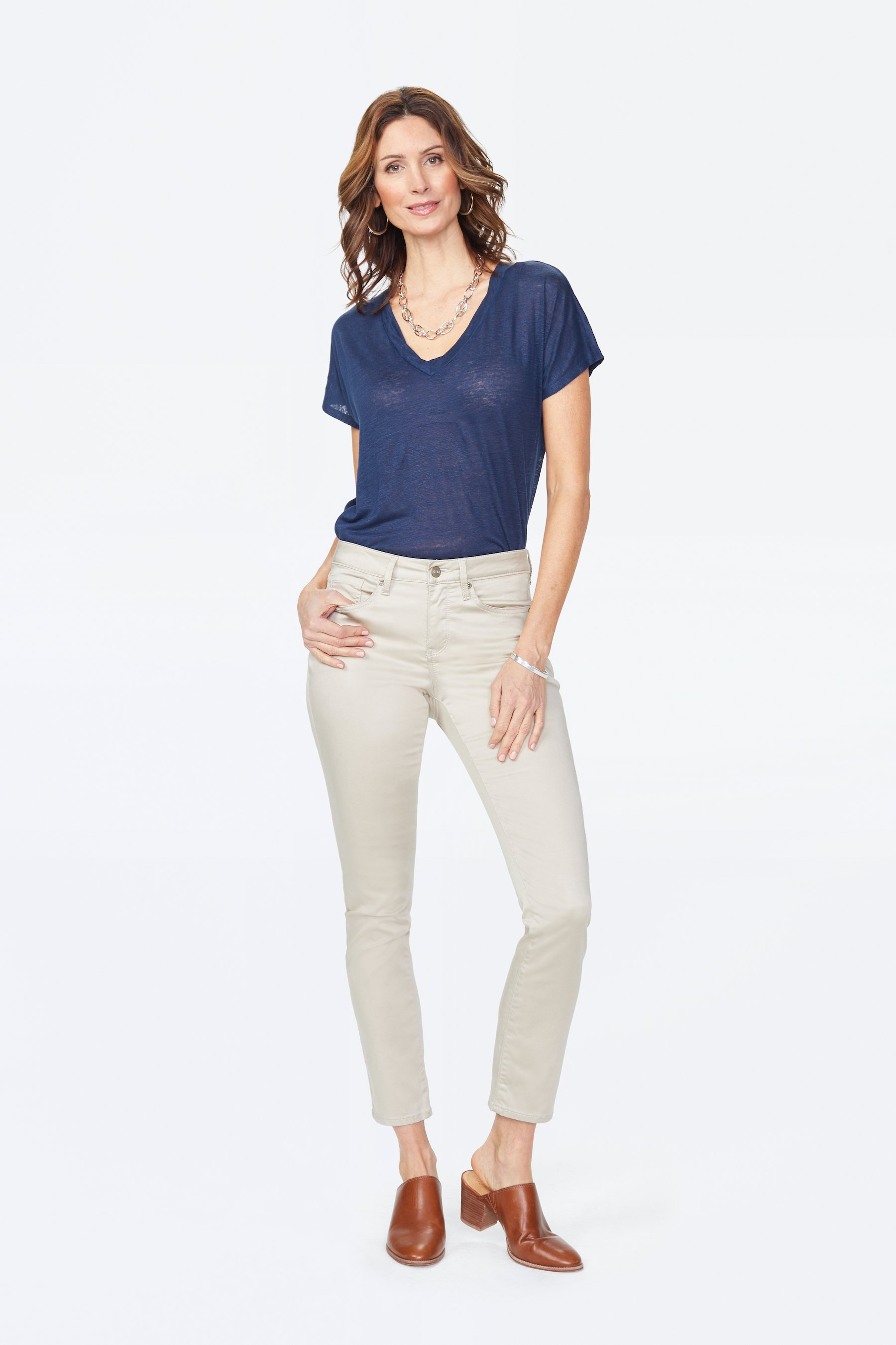PRE ORDER NYDJ Sheri Slim Cut Sateen Classic Five-Pocket Zip Fly Jeans -Feather - Front