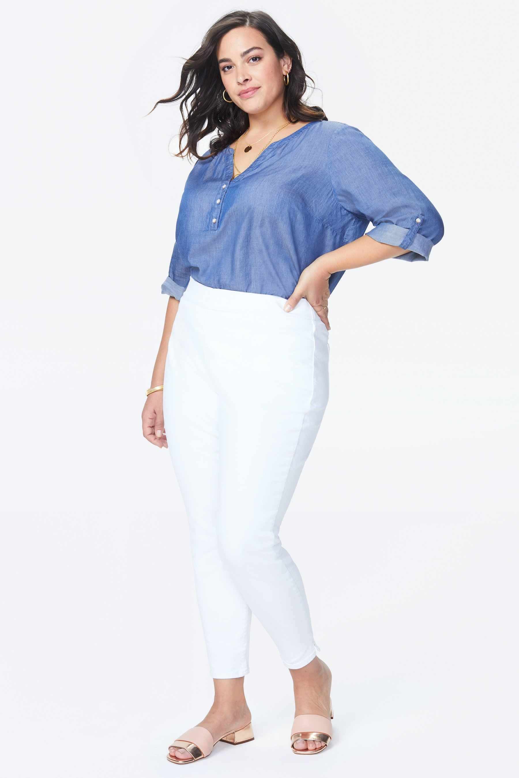 PRE ORDER NYDJ Pull On Skinny Ankle Jeans with Slit Hem -Optic White - Front