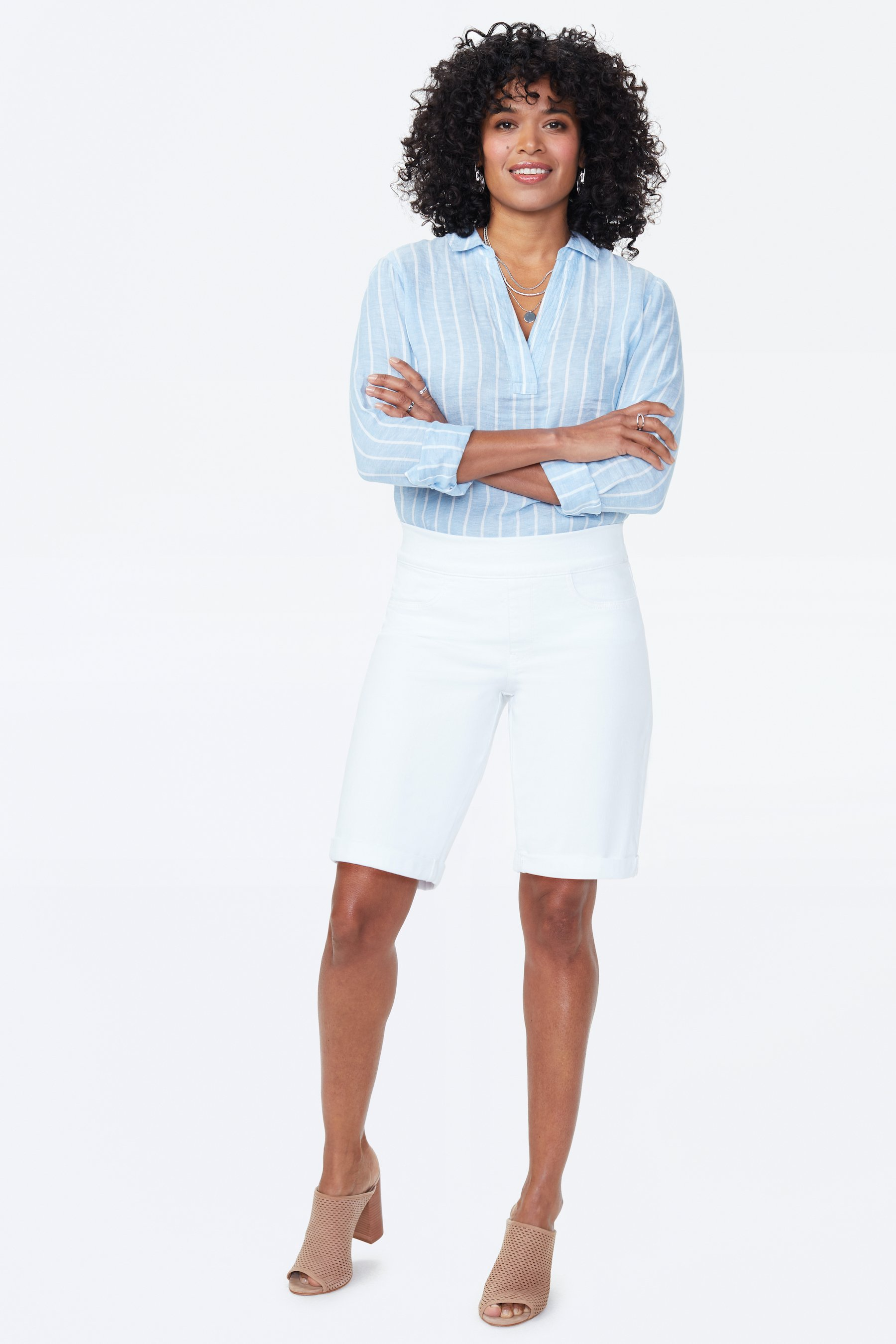 PRE ORDER NYDJ Pull On Shorts with Rolled Cuff -Optic White - Front