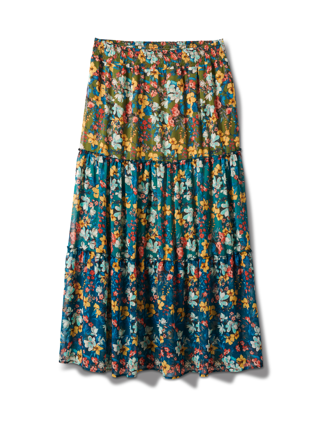 Plus 3 Tiered Maxi Skirt -Moroccan Blue - Front