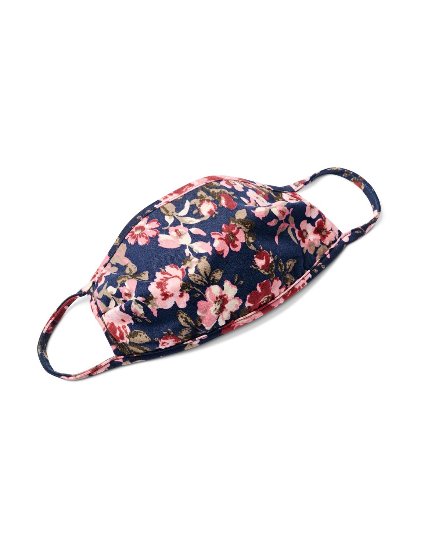 Mauve Floral Bouquet Fashion Mask -Navy/Mauve - Front