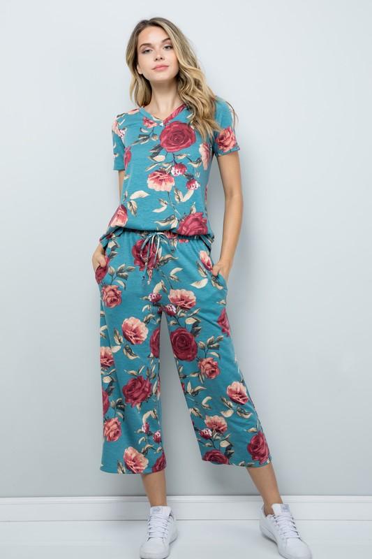 Floral Wide-Leg Cropped Pants -Mint - Front