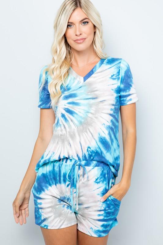 Vibrant Tie Dye Print Shorts -Blue - Front