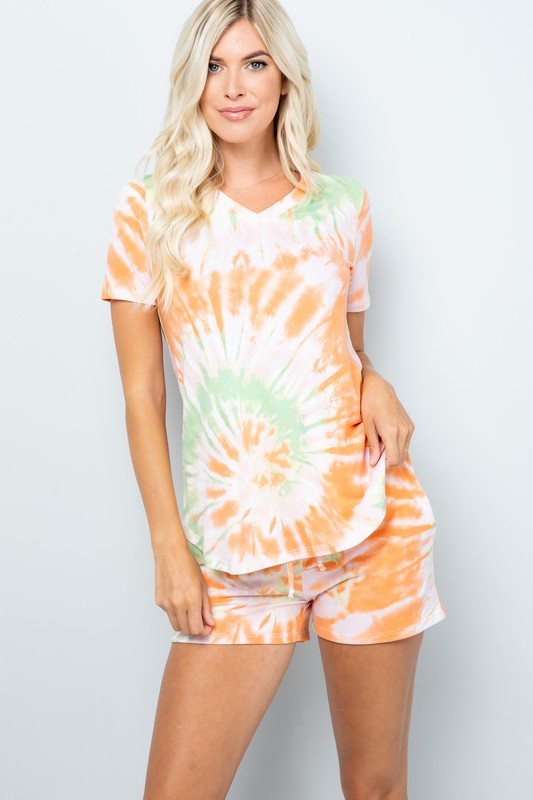 Pre Order Vibrant Tie Dye Print Shorts -Orange - Front