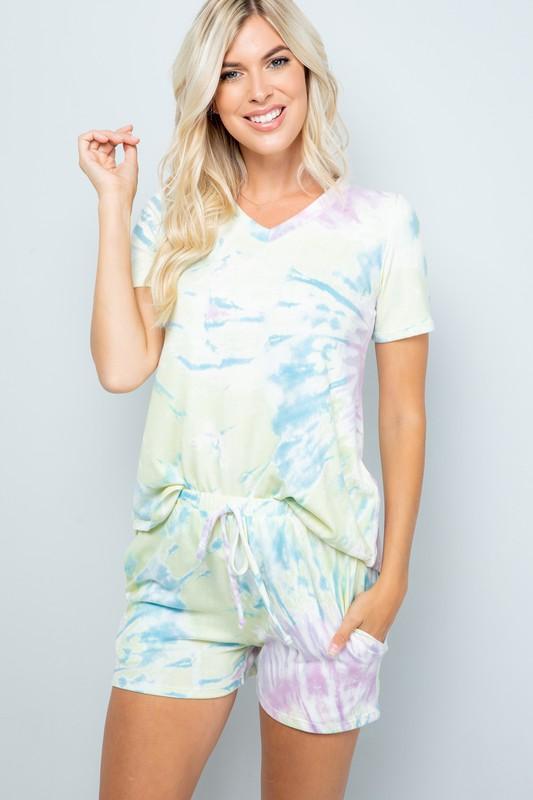 Pre Order Vibrant Tie Dye Print Shorts -Yellow - Front