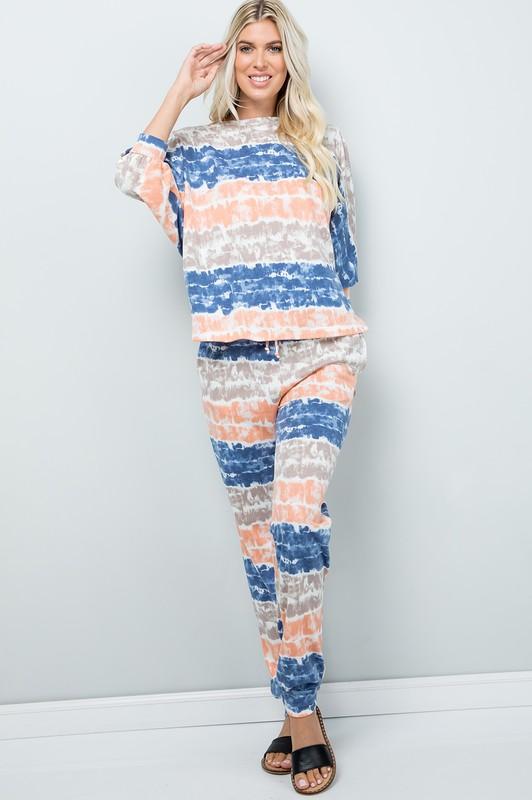 Pre Order Tie Dye Pants W/ Pocket -Ink blue - Front