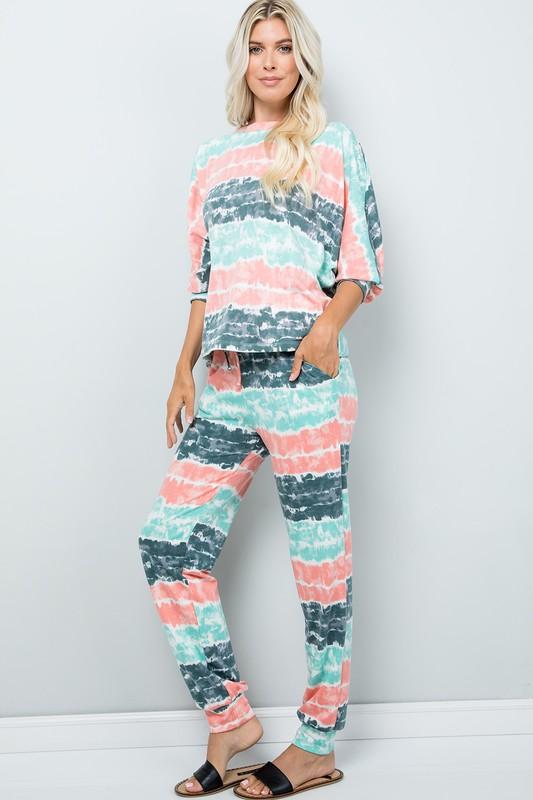 Tie Dye Pants W/ Pocket -Mint - Front