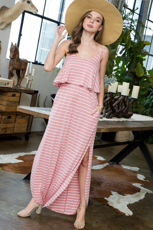 Striped Maxi Dress -Rose / Ivory - Front