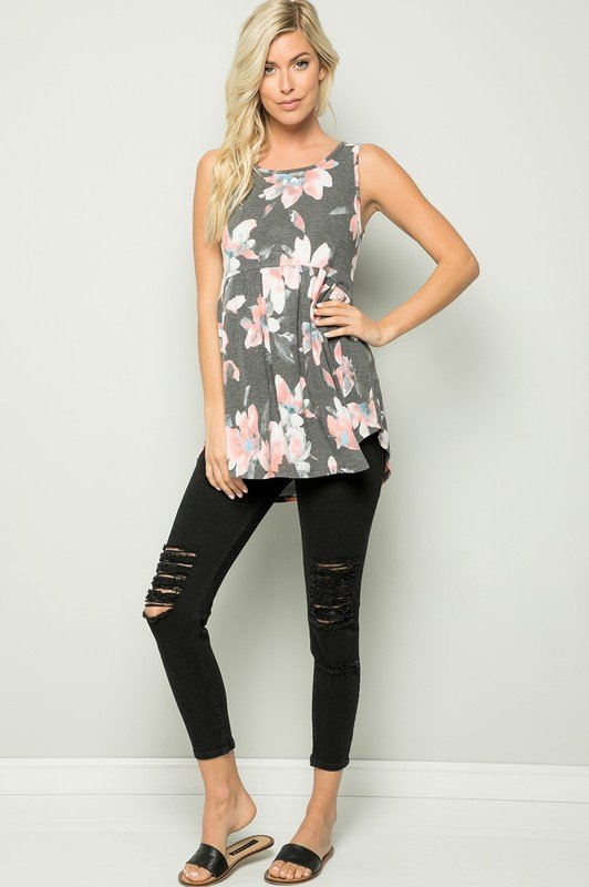 Floral Tunic Top -Charcoal - Front