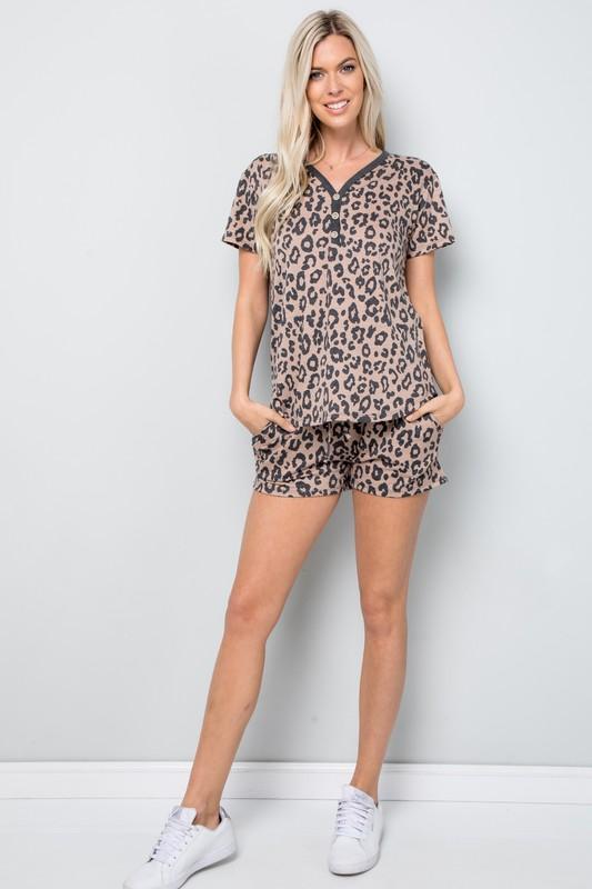 Leopard Print Button Detail Top -Mocha - Front