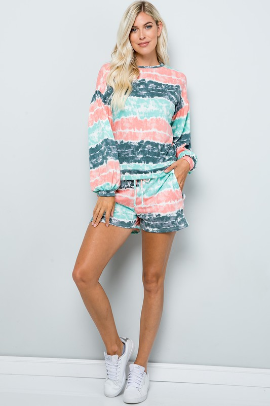 Tie Dye Pullover Top -Mint - Front