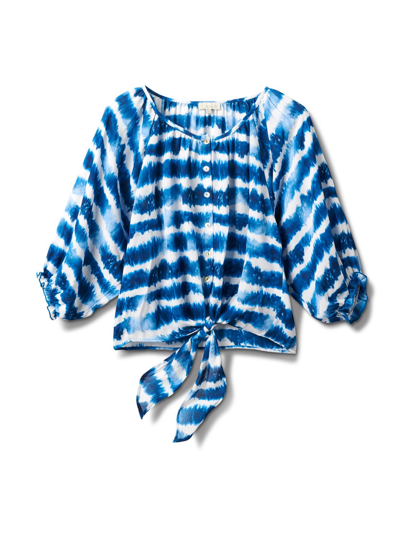 Tie Dye Tie Front Peasant Blouse -Denim Blue - Front