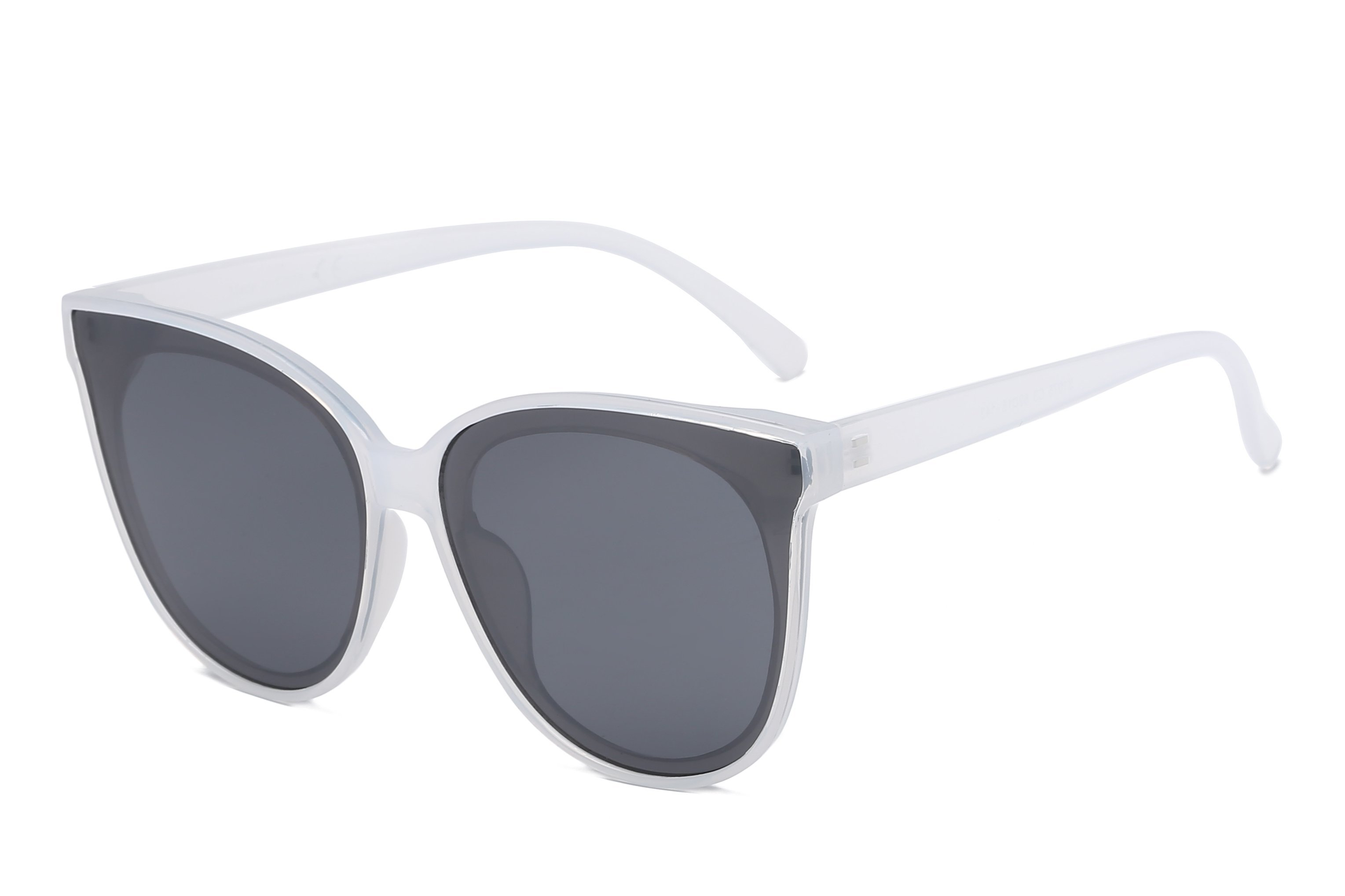 Round Cat-Eye Sunglasses -White - Front