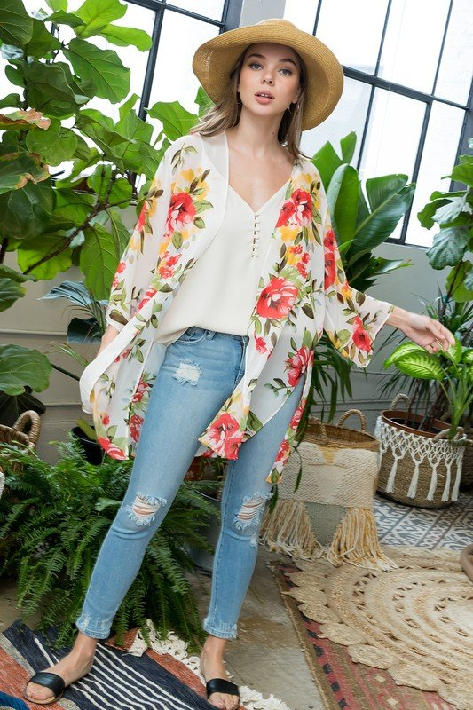 Floral Print Kimono -Ivory - Front